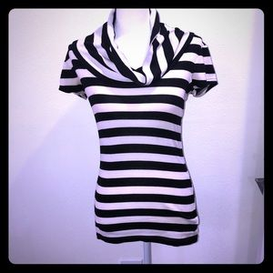 Striped black and cream top